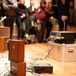Photo credits: Sacha Ruland Puck Vonk - 'The Neologism of the Female Voice' sound installation with occasional performance, 2016. Currents #4 Running Time, Marres Maastricht